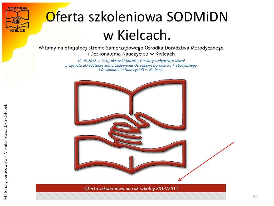 Materiały opracowała - Monika Zawadzka-Chłopek Oferta szkoleniowa SODMiDN w Kielcach. 50