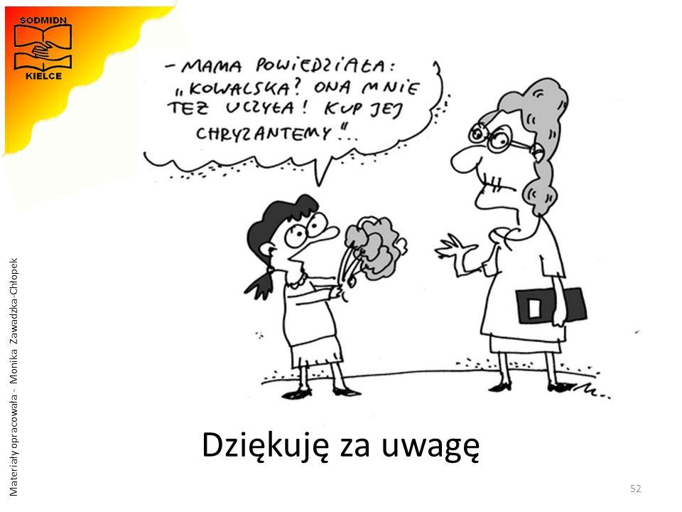 Materiały opracowała - Monika Zawadzka-Chłopek 52 Dziękuję za uwagę