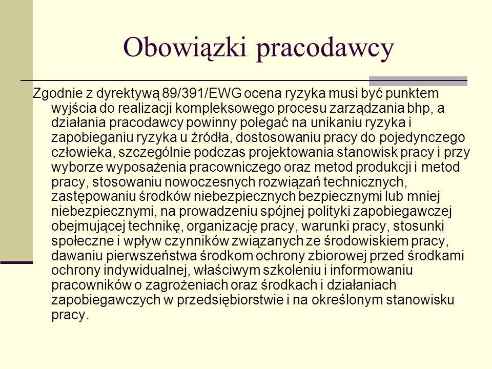 Obowiązki pracodawcy Zgodnie z dyrektywą 89/391/EWG ocena ryzyka musi być punktem wyjścia do realizacji kompleksowego procesu zarządzania bhp, a dział