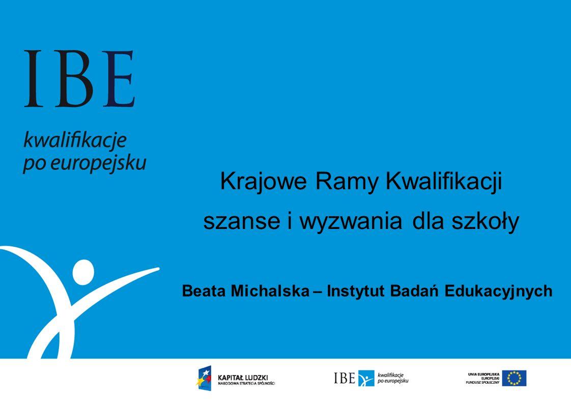 Krajowe Ramy Kwalifikacji szanse i wyzwania dla szkoły Beata Michalska – Instytut Badań Edukacyjnych