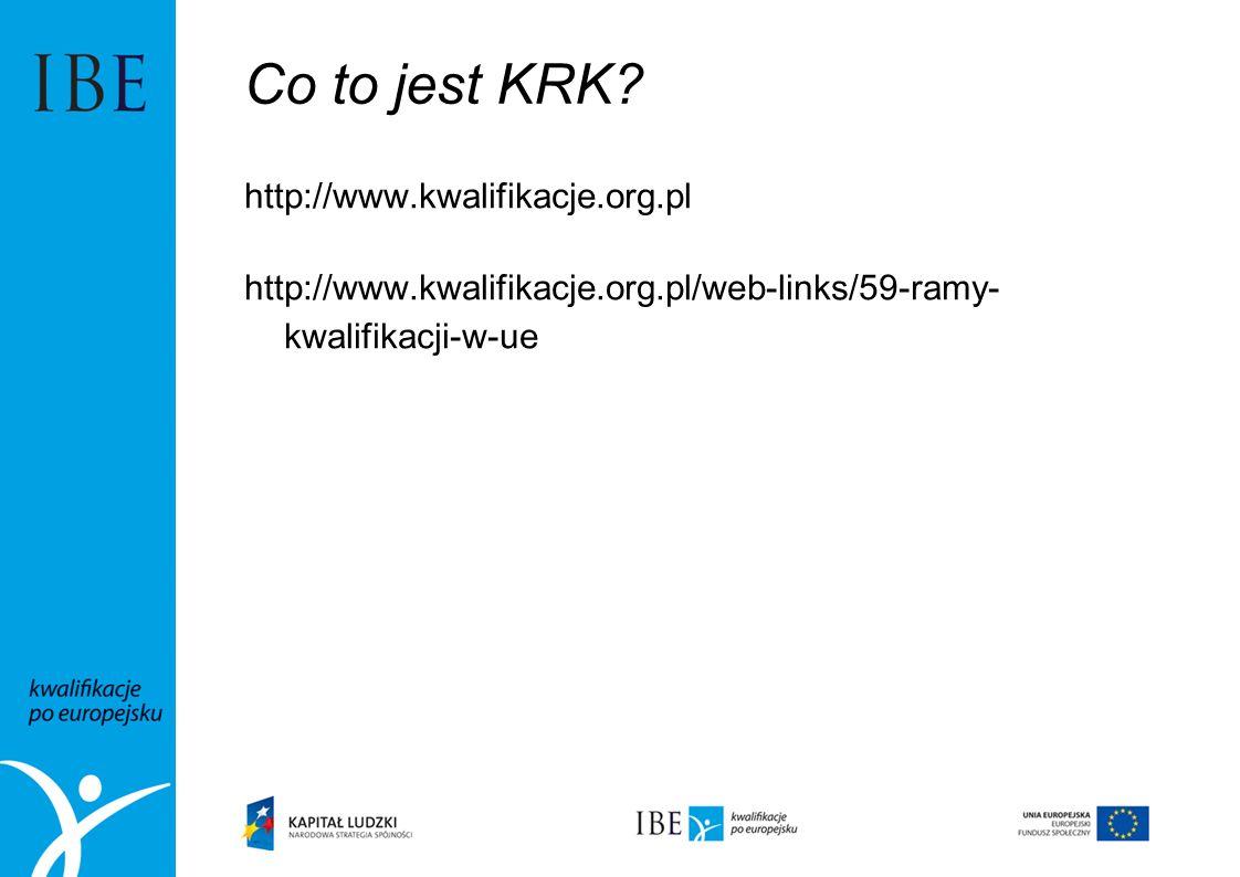 Co to jest KRK? http://www.kwalifikacje.org.pl http://www.kwalifikacje.org.pl/web-links/59-ramy- kwalifikacji-w-ue