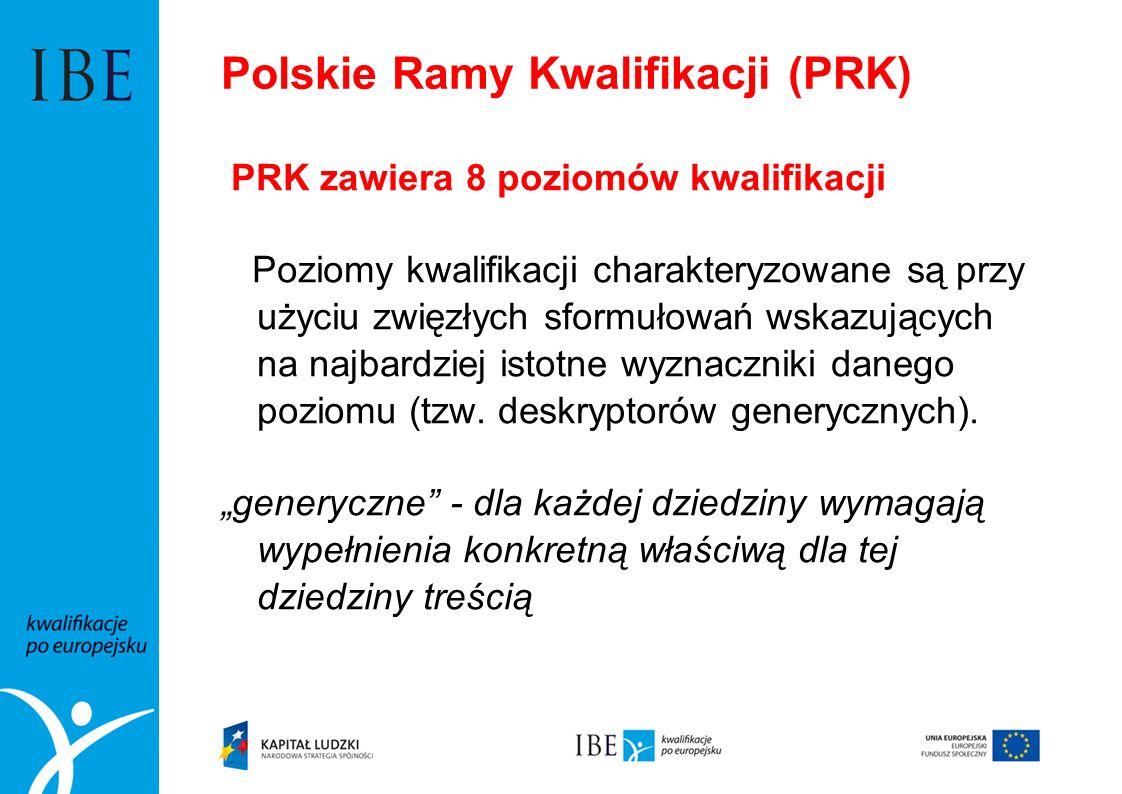Polskie Ramy Kwalifikacji (PRK) PRK zawiera 8 poziomów kwalifikacji Poziomy kwalifikacji charakteryzowane są przy użyciu zwięzłych sformułowań wskazuj