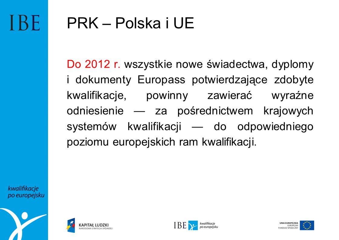 PRK – Polska i UE Do 2012 r. wszystkie nowe świadectwa, dyplomy i dokumenty Europass potwierdzające zdobyte kwalifikacje, powinny zawierać wyraźne odn