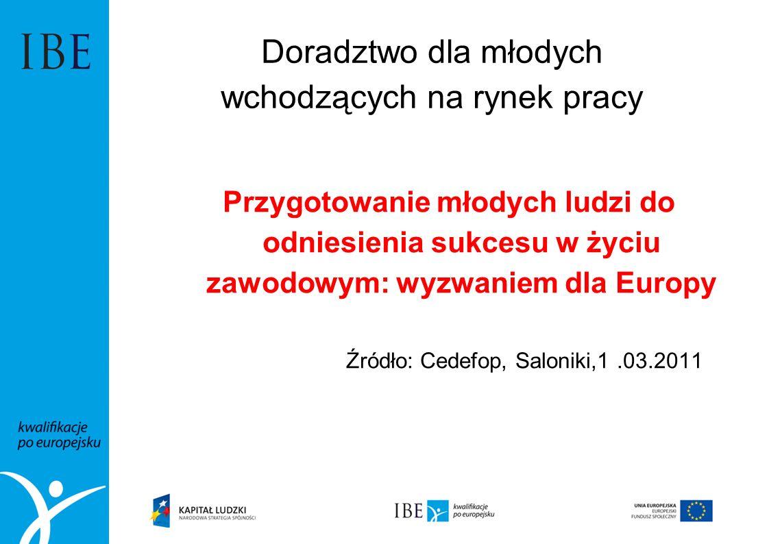 Doradztwo dla młodych wchodzących na rynek pracy Przygotowanie młodych ludzi do odniesienia sukcesu w życiu zawodowym: wyzwaniem dla Europy Źródło: Ce