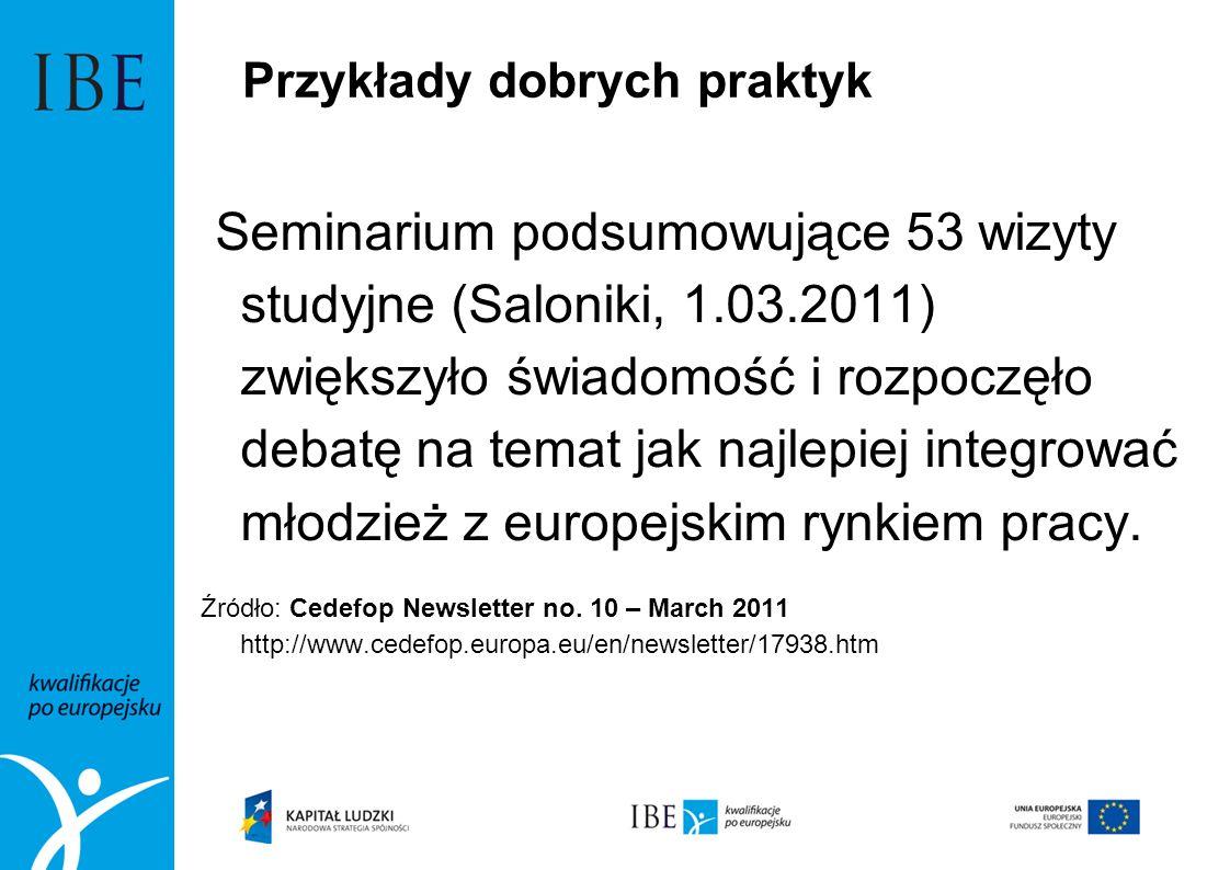 Przykłady dobrych praktyk Seminarium podsumowujące 53 wizyty studyjne (Saloniki, 1.03.2011) zwiększyło świadomość i rozpoczęło debatę na temat jak naj