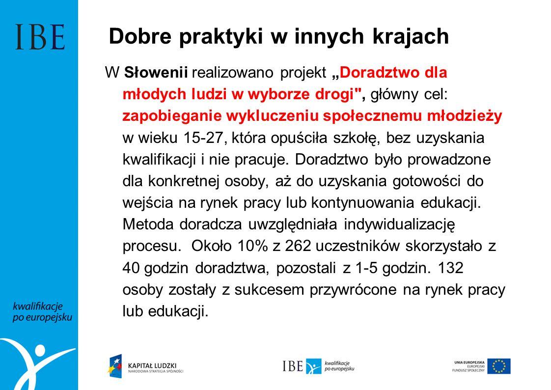 Dobre praktyki w innych krajach W Słowenii realizowano projekt Doradztwo dla młodych ludzi w wyborze drogi
