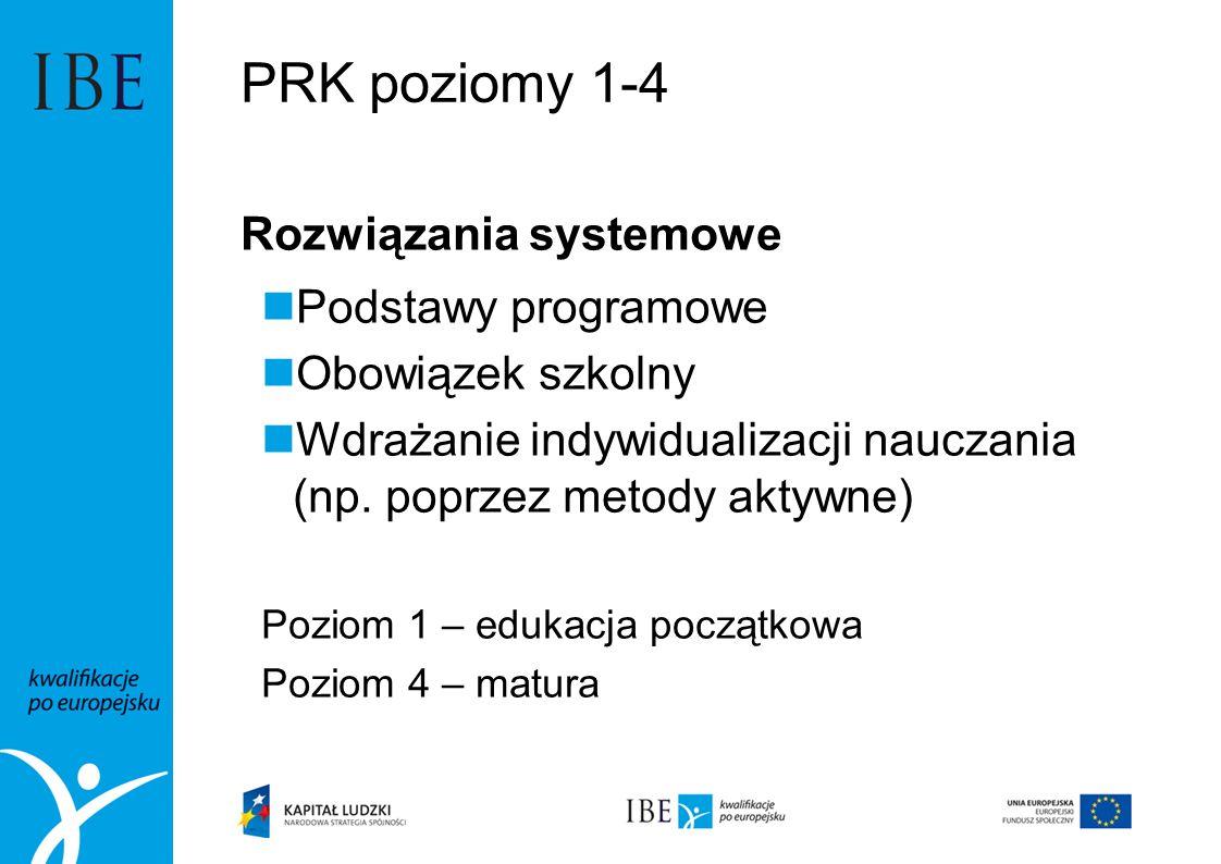 PRK poziomy 1-4 Rozwiązania systemowe Podstawy programowe Obowiązek szkolny Wdrażanie indywidualizacji nauczania (np. poprzez metody aktywne) Poziom 1