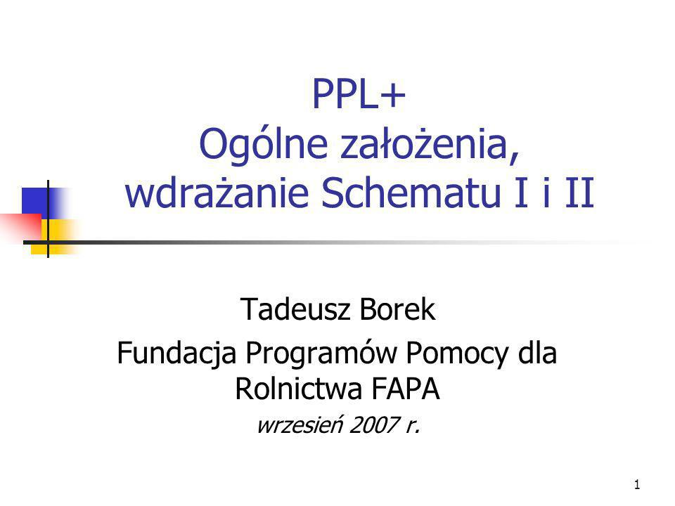 1 PPL+ Ogólne założenia, wdrażanie Schematu I i II Tadeusz Borek Fundacja Programów Pomocy dla Rolnictwa FAPA wrzesień 2007 r.