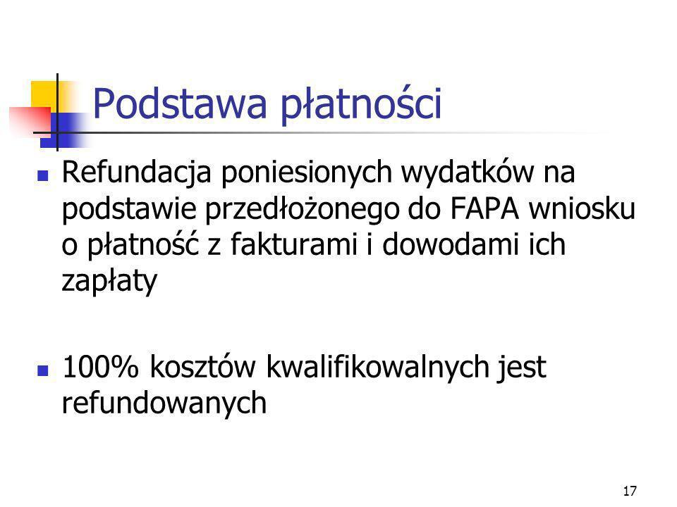 17 Podstawa płatności Refundacja poniesionych wydatków na podstawie przedłożonego do FAPA wniosku o płatność z fakturami i dowodami ich zapłaty 100% k