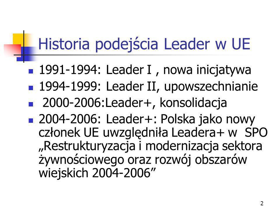 2 Historia podejścia Leader w UE 1991-1994: Leader I, nowa inicjatywa 1994-1999: Leader II, upowszechnianie 2000-2006:Leader+, konsolidacja 2004-2006: