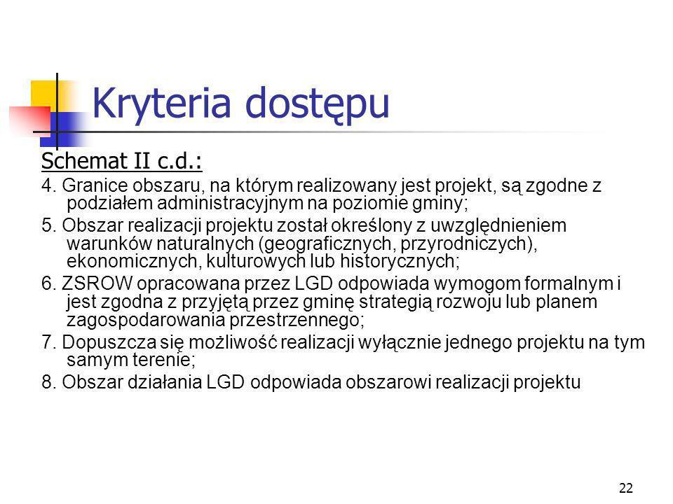 23 Kryteria dostępu Schemat II c.d.: 9.