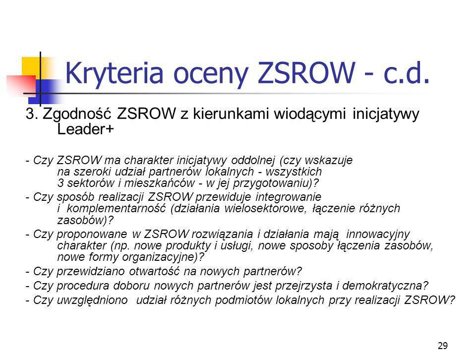 29 Kryteria oceny ZSROW - c.d. 3. Zgodność ZSROW z kierunkami wiodącymi inicjatywy Leader+ - Czy ZSROW ma charakter inicjatywy oddolnej (czy wskazuje