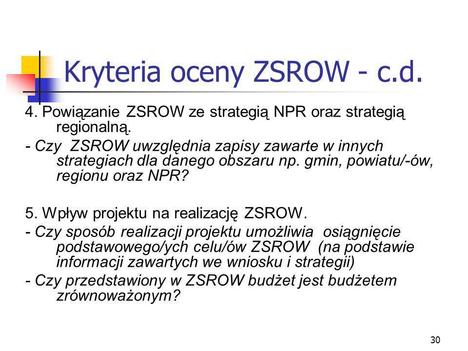 30 Kryteria oceny ZSROW - c.d. 4. Powiązanie ZSROW ze strategią NPR oraz strategią regionalną. - Czy ZSROW uwzględnia zapisy zawarte w innych strategi