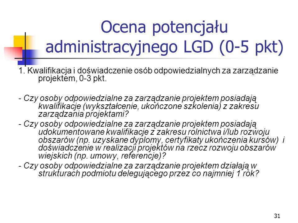 31 Ocena potencjału administracyjnego LGD (0-5 pkt) 1. Kwalifikacja i doświadczenie osób odpowiedzialnych za zarządzanie projektem, 0-3 pkt. - Czy oso
