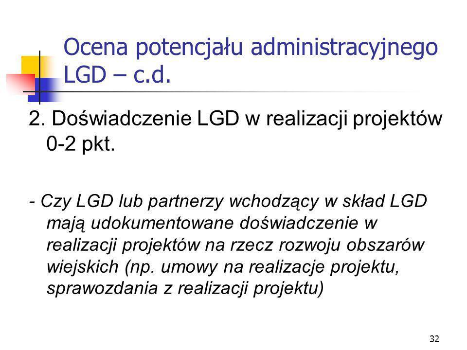 32 Ocena potencjału administracyjnego LGD – c.d. 2. Doświadczenie LGD w realizacji projektów 0-2 pkt. - Czy LGD lub partnerzy wchodzący w skład LGD ma