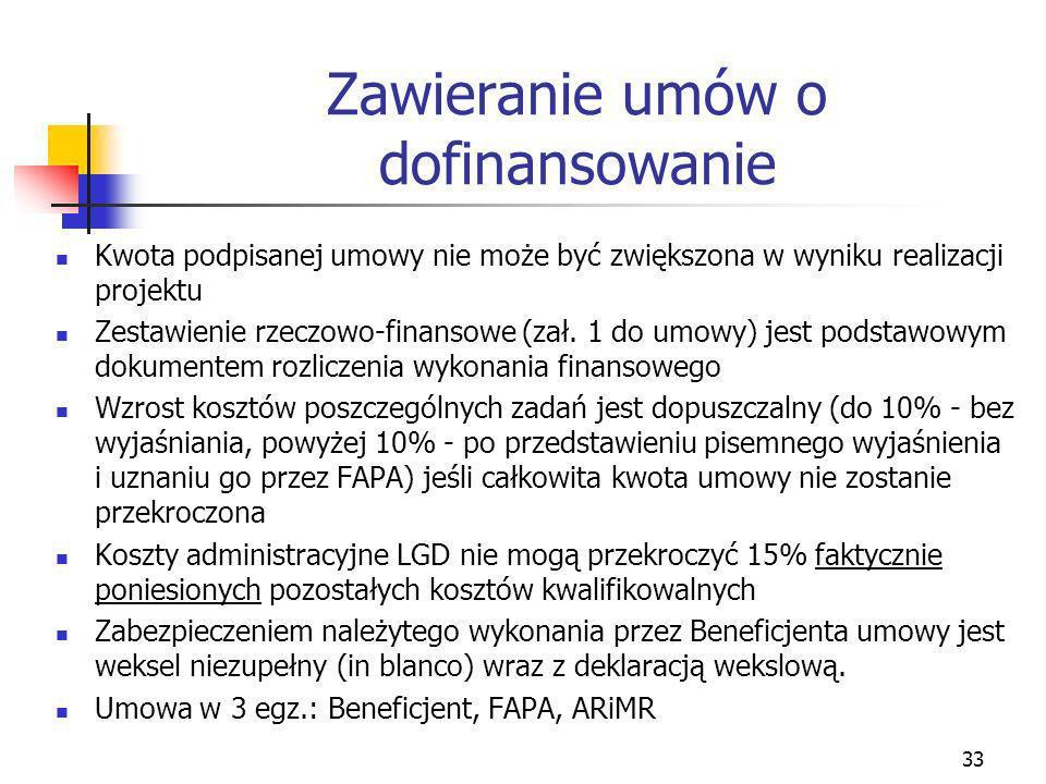 33 Zawieranie umów o dofinansowanie Kwota podpisanej umowy nie może być zwiększona w wyniku realizacji projektu Zestawienie rzeczowo-finansowe (zał. 1