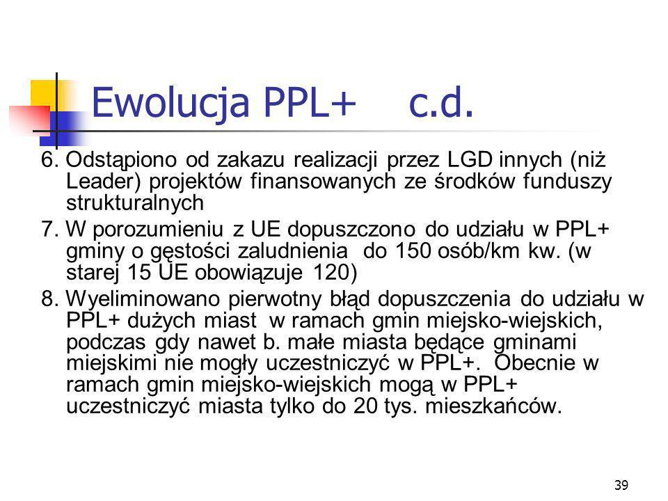 39 Ewolucja PPL+ c.d. 6. Odstąpiono od zakazu realizacji przez LGD innych (niż Leader) projektów finansowanych ze środków funduszy strukturalnych 7. W