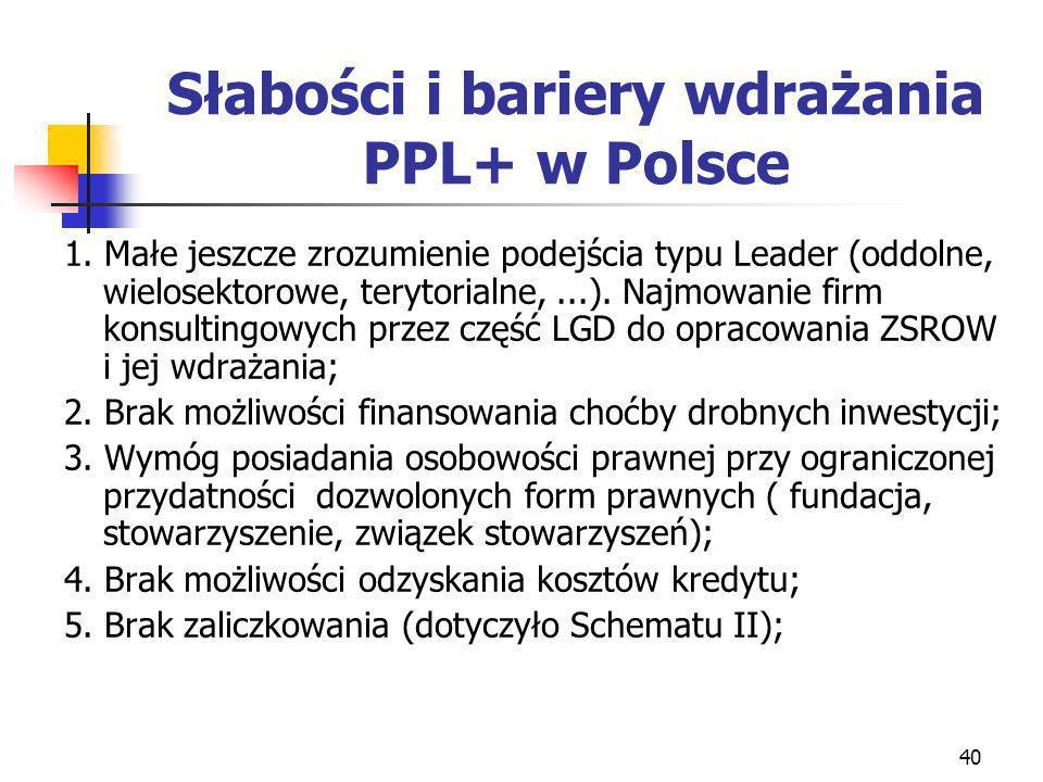 40 Słabości i bariery wdrażania PPL+ w Polsce 1. Małe jeszcze zrozumienie podejścia typu Leader (oddolne, wielosektorowe, terytorialne,...). Najmowani