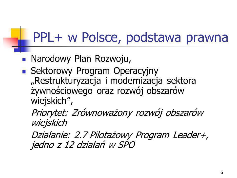 6 PPL+ w Polsce, podstawa prawna Narodowy Plan Rozwoju, Sektorowy Program Operacyjny Restrukturyzacja i modernizacja sektora żywnościowego oraz rozwój obszarów wiejskich, Priorytet: Zrównoważony rozwój obszarów wiejskich Działanie: 2.7 Pilotażowy Program Leader+, jedno z 12 działań w SPO