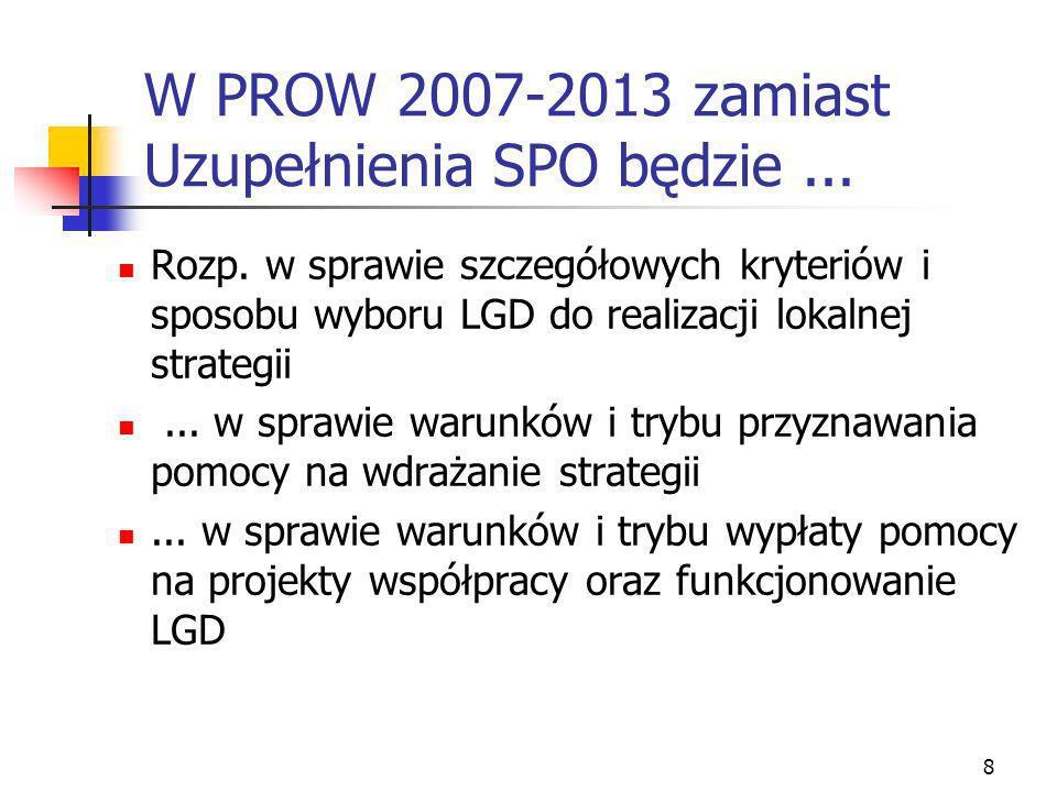 8 W PROW 2007-2013 zamiast Uzupełnienia SPO będzie... Rozp. w sprawie szczegółowych kryteriów i sposobu wyboru LGD do realizacji lokalnej strategii...