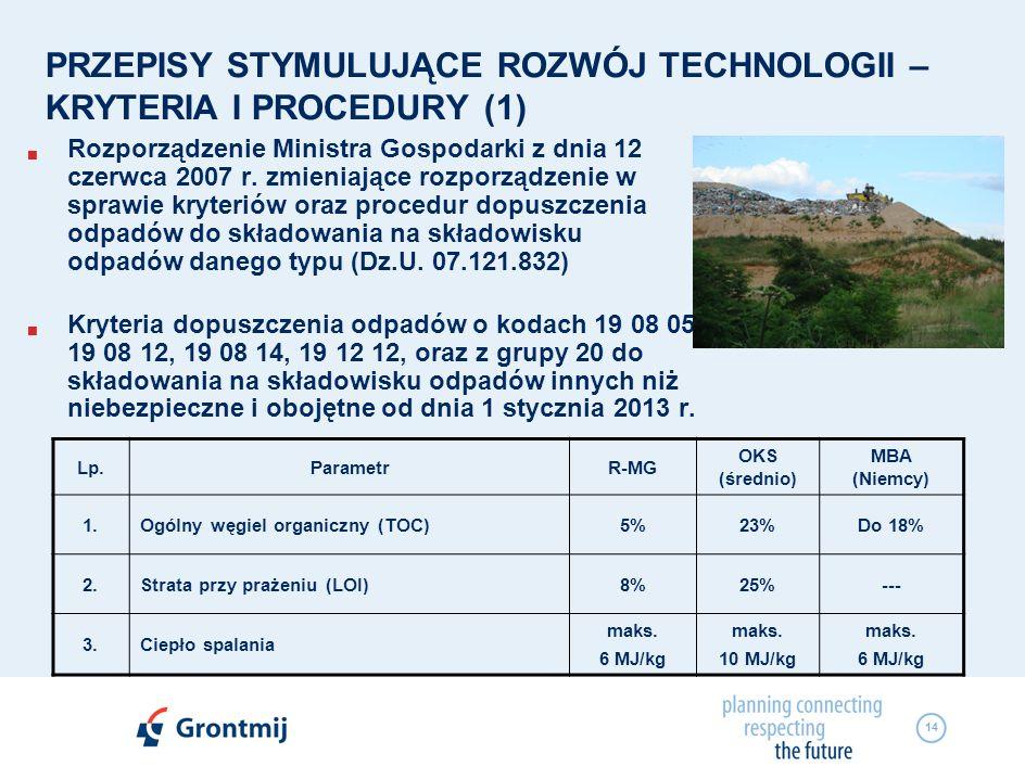 14 PRZEPISY STYMULUJĄCE ROZWÓJ TECHNOLOGII – KRYTERIA I PROCEDURY (1) Rozporządzenie Ministra Gospodarki z dnia 12 czerwca 2007 r. zmieniające rozporz