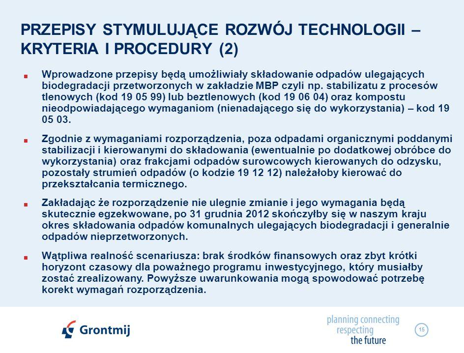 15 PRZEPISY STYMULUJĄCE ROZWÓJ TECHNOLOGII – KRYTERIA I PROCEDURY (2) Wprowadzone przepisy będą umożliwiały składowanie odpadów ulegających biodegrada