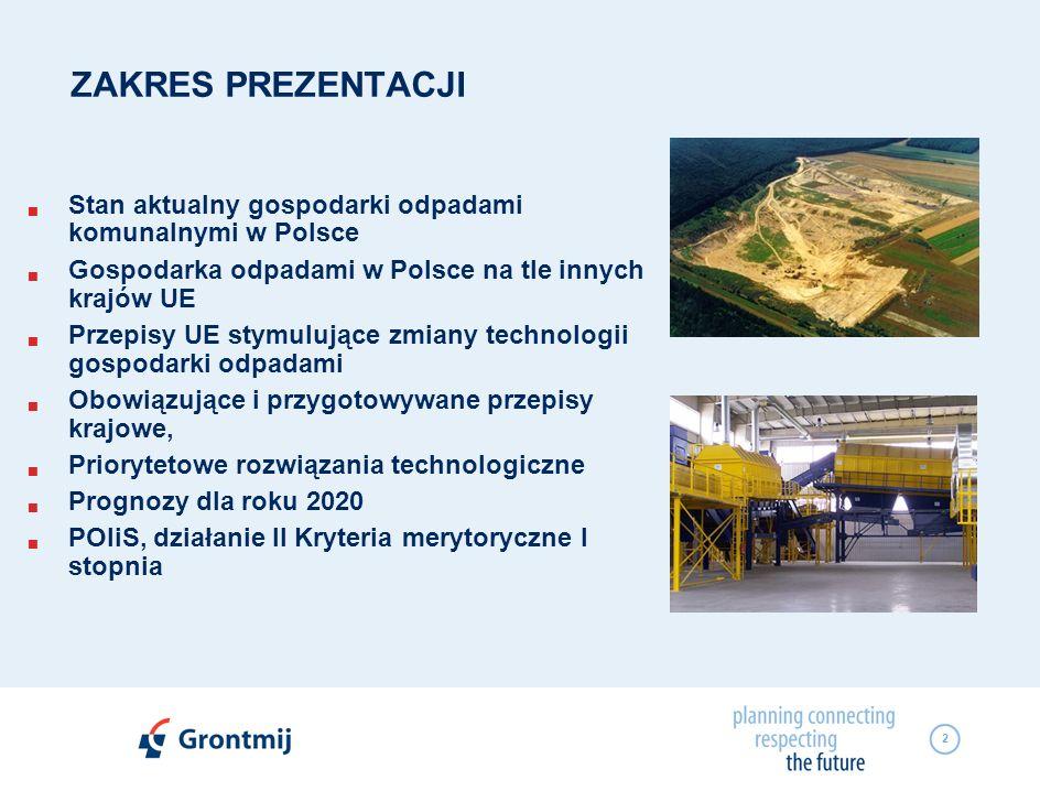 2 ZAKRES PREZENTACJI Stan aktualny gospodarki odpadami komunalnymi w Polsce Gospodarka odpadami w Polsce na tle innych krajów UE Przepisy UE stymulują