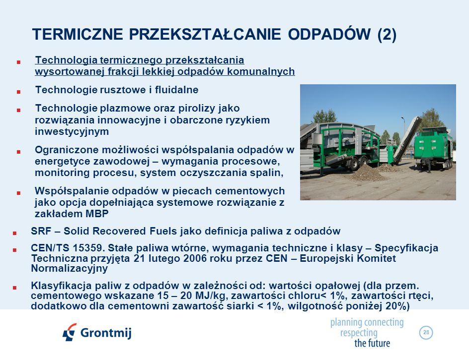 28 TERMICZNE PRZEKSZTAŁCANIE ODPADÓW (2) Technologia termicznego przekształcania wysortowanej frakcji lekkiej odpadów komunalnych Technologie rusztowe