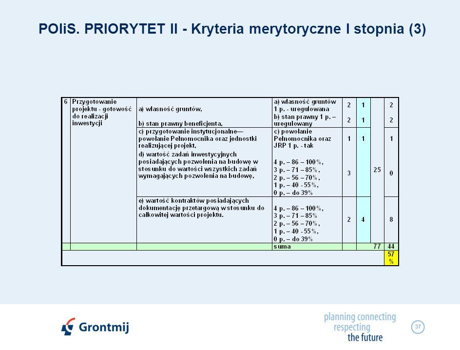 37 POIiS. PRIORYTET II - Kryteria merytoryczne I stopnia (3)