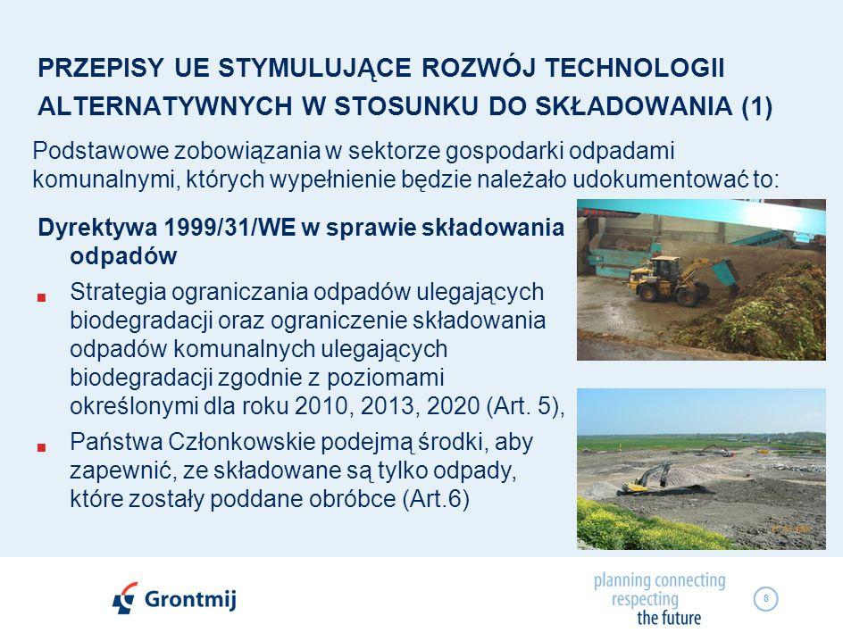 9 PRZEPISY UE STYMULUJĄCE ROZWÓJ TECHNOLOGII ALTERNATYWNYCH W STOSUNKU DO SKŁADOWANIA (2) Podstawowe zobowiązania w sektorze gospodarki odpadami komunalnymi, których wypełnienie będzie należało udokumentować to: Traktat Akcesyjny Obliguje do doprowadzenie sektora składowania odpadów do takiego poziomu, żeby po 1 lipca 2012 roku wszystkie odpady były składowane na składowiskach spełniających wymagania dyrektywy w sprawie składowania odpadów 1999/31 WE.