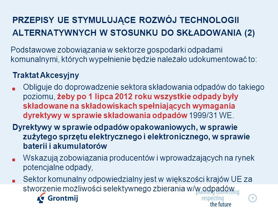 9 PRZEPISY UE STYMULUJĄCE ROZWÓJ TECHNOLOGII ALTERNATYWNYCH W STOSUNKU DO SKŁADOWANIA (2) Podstawowe zobowiązania w sektorze gospodarki odpadami komun