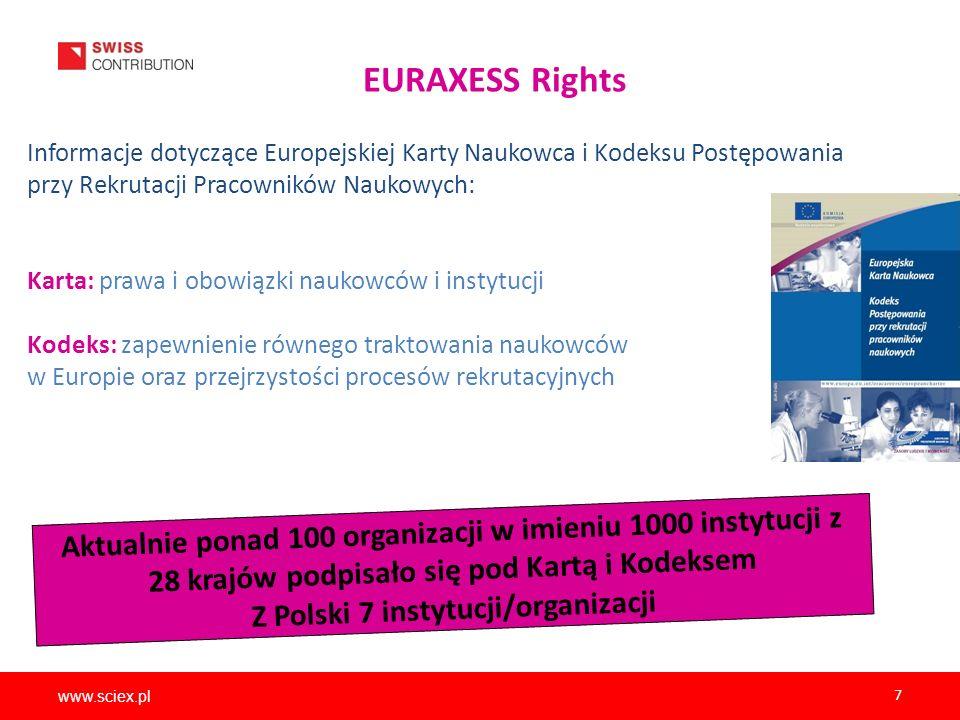 www.sciex.pl 7 EURAXESS Rights Informacje dotyczące Europejskiej Karty Naukowca i Kodeksu Postępowania przy Rekrutacji Pracowników Naukowych: Karta: p
