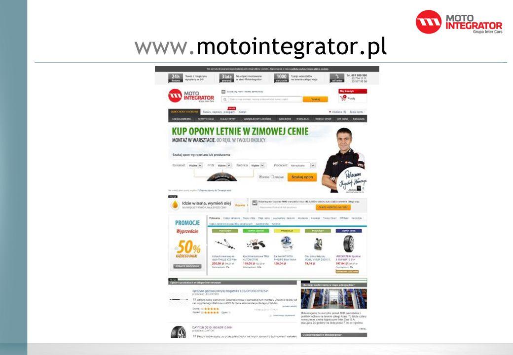 Motointegrator w Internecie Motointegrator w wyniku działań promocyjnych stał się w ciągu 6 miesięcy największą platforma e-commerce motoryzacyjną w Polsce.