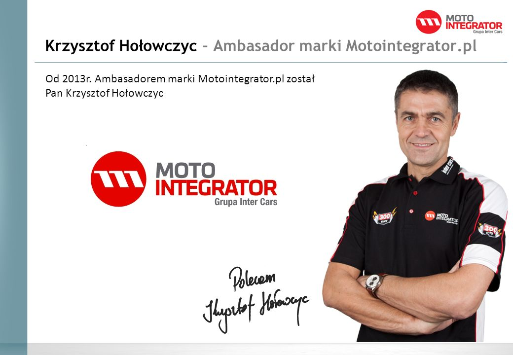 Krzysztof Hołowczyc – Ambasador marki Motointegrator.pl Od 2013r.