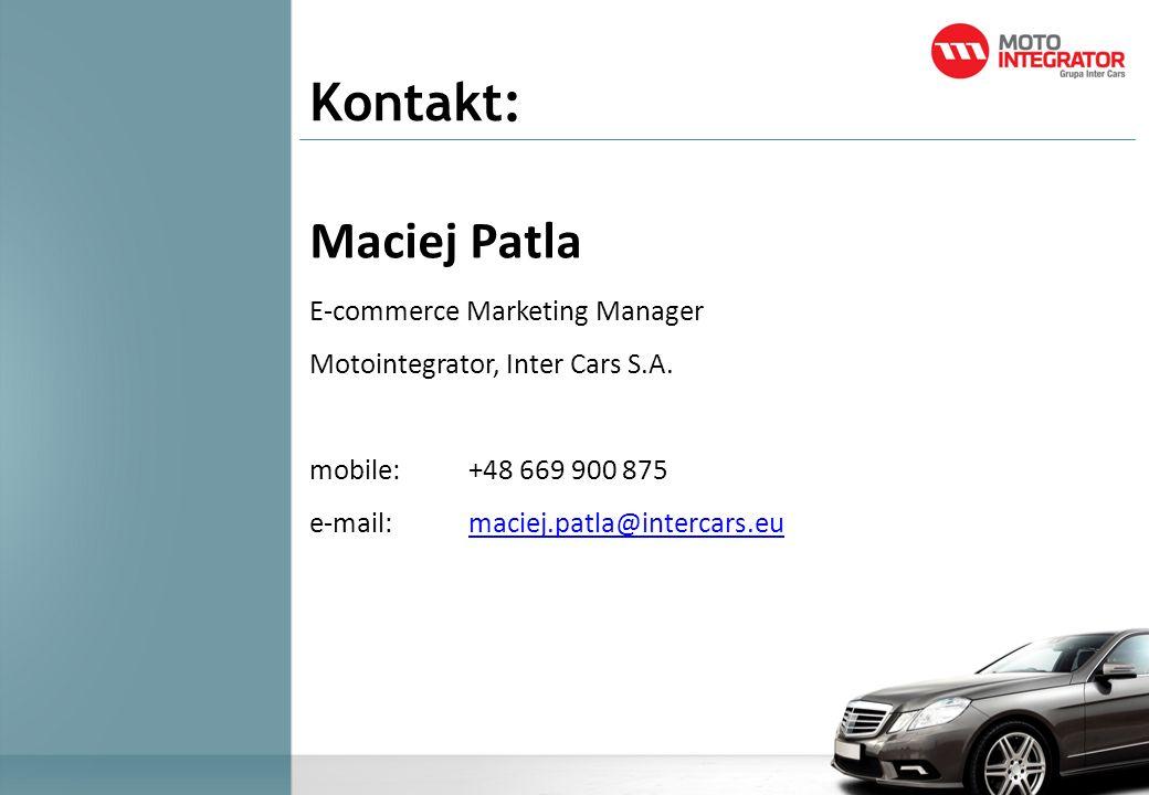 Kontakt: Maciej Patla E-commerce Marketing Manager Motointegrator, Inter Cars S.A. mobile:+48 669 900 875 e-mail: maciej.patla@intercars.eumaciej.patl