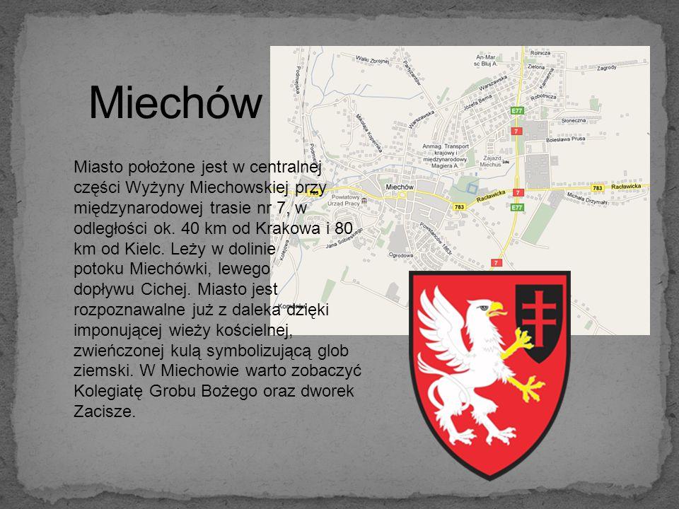 Miasto położone jest w centralnej części Wyżyny Miechowskiej przy międzynarodowej trasie nr 7, w odległości ok.
