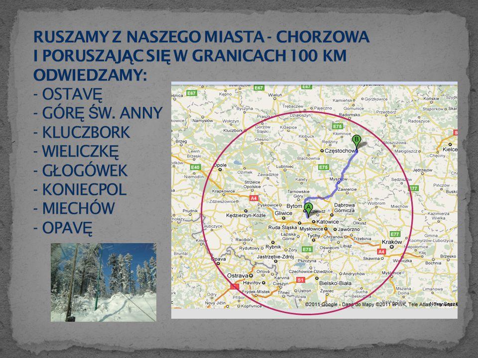 Miasto położone jest około 105 km od Chorzowa.