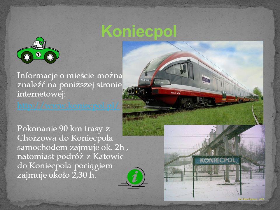 Informacje o mieście można znaleźć na poniższej stronie internetowej: http://www.koniecpol.pl/ Pokonanie 90 km trasy z Chorzowa do Koniecpola samochodem zajmuje ok.