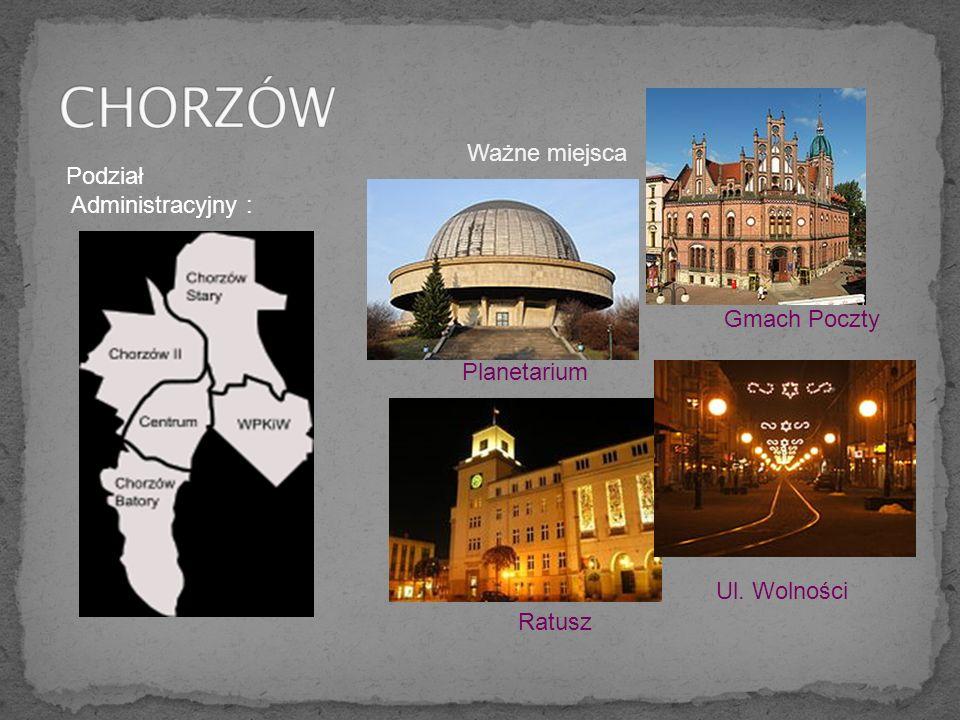 Podział Administracyjny : Planetarium Ratusz Ul. Wolności Gmach Poczty Ważne miejsca