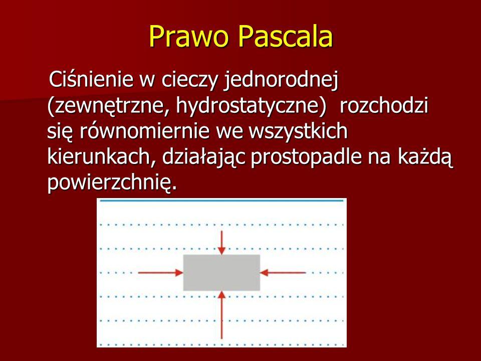 Prawo Pascala Ciśnienie w cieczy jednorodnej (zewnętrzne, hydrostatyczne) rozchodzi się równomiernie we wszystkich kierunkach, działając prostopadle n