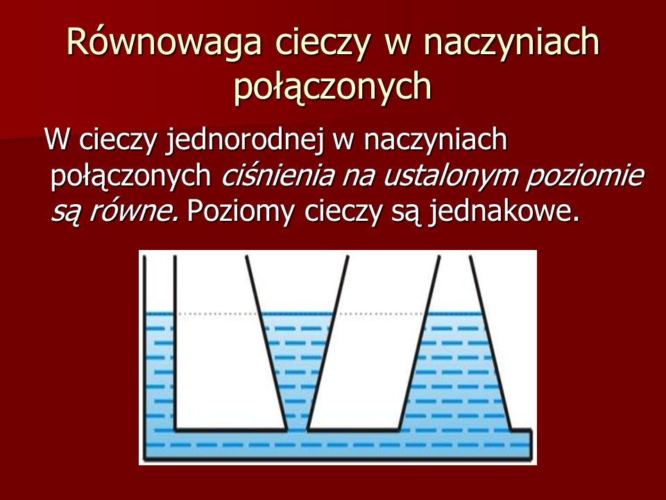 Równowaga cieczy w naczyniach połączonych W cieczy jednorodnej w naczyniach połączonych ciśnienia na ustalonym poziomie są równe. Poziomy cieczy są je