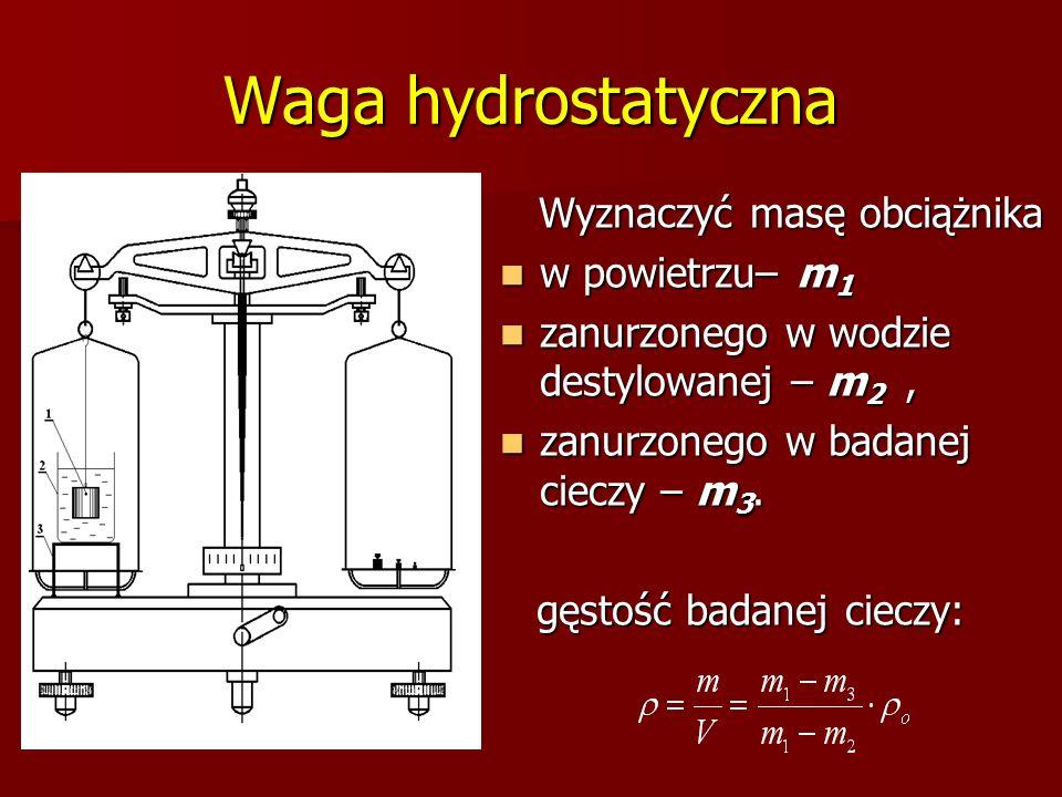 Waga hydrostatyczna Wyznaczyć masę obciążnika Wyznaczyć masę obciążnika w powietrzu– m 1 w powietrzu– m 1 zanurzonego w wodzie destylowanej – m 2, zan