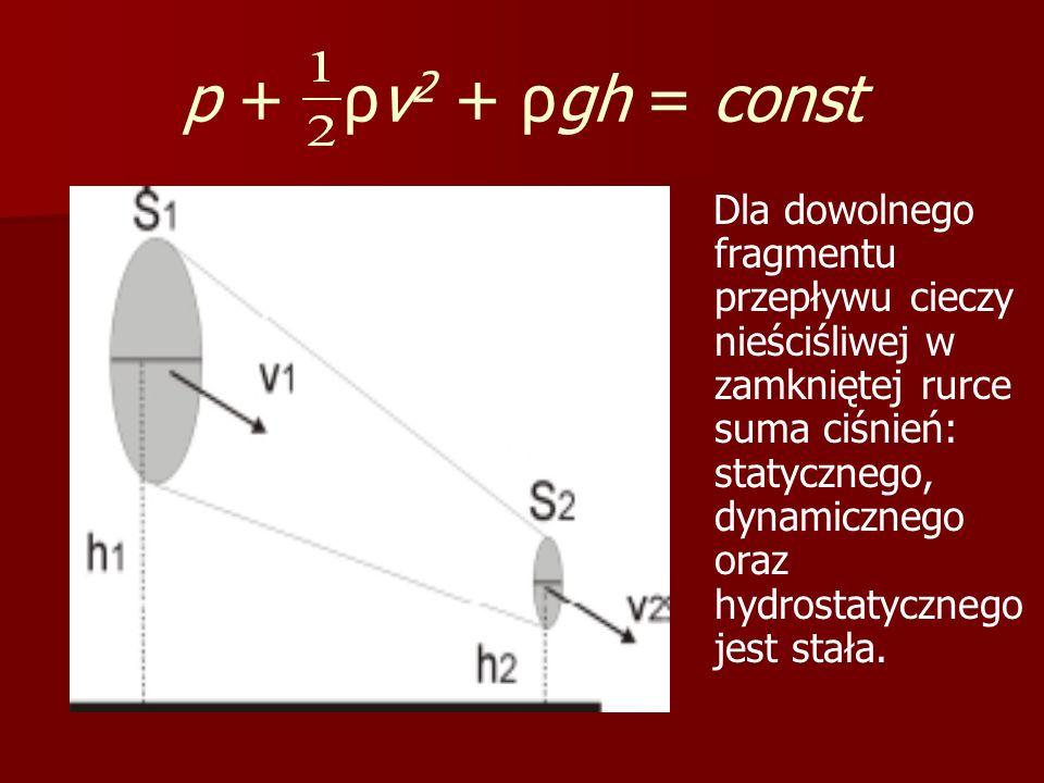 p + ρv 2 + ρgh = const Dla dowolnego fragmentu przepływu cieczy nieściśliwej w zamkniętej rurce suma ciśnień: statycznego, dynamicznego oraz hydrostat