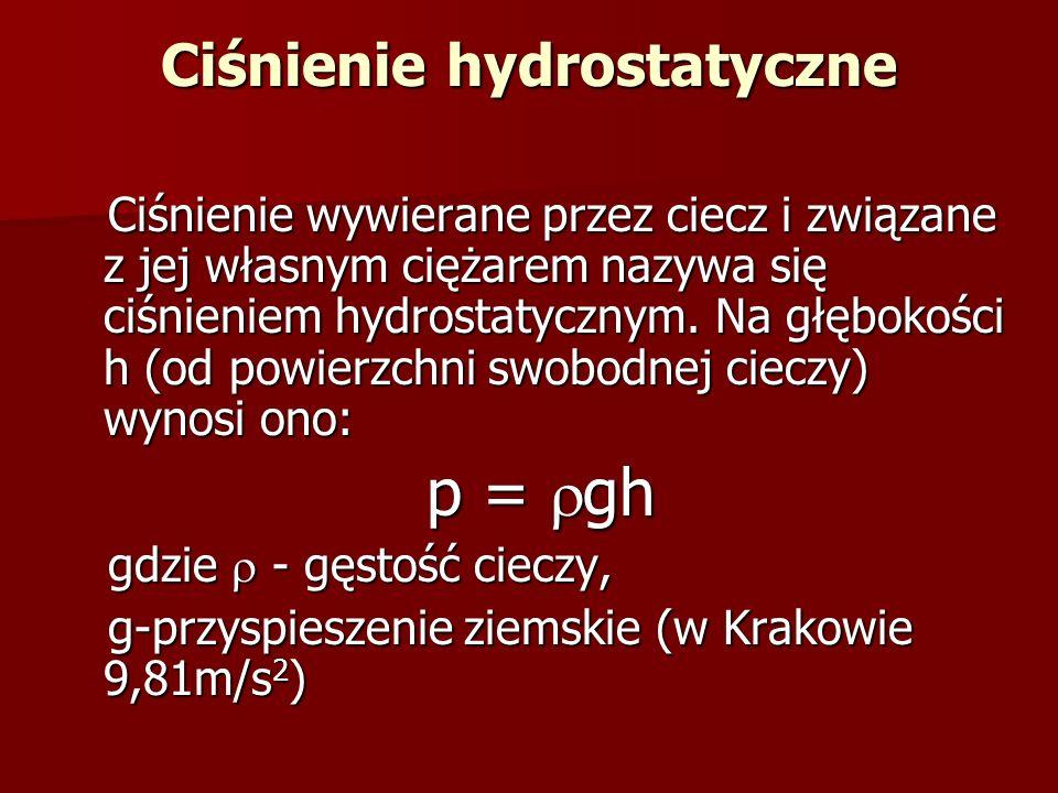 Ciśnienie hydrostatyczne Ciśnienie wywierane przez ciecz i związane z jej własnym ciężarem nazywa się ciśnieniem hydrostatycznym. Na głębokości h (od