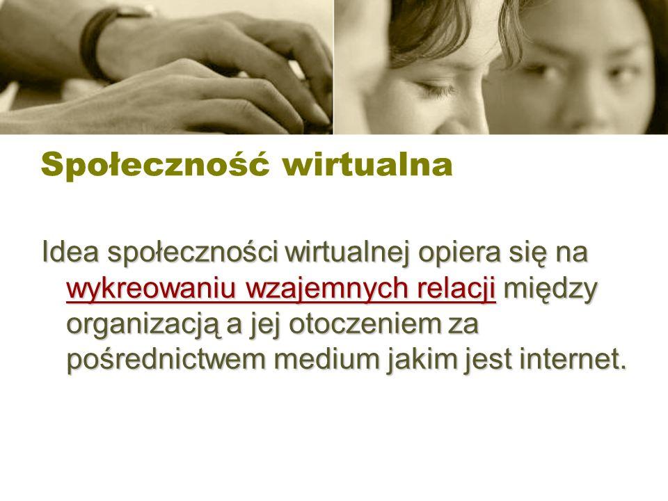 Społeczność wirtualna Idea społeczności wirtualnej opiera się na wykreowaniu wzajemnych relacji między organizacją a jej otoczeniem za pośrednictwem m