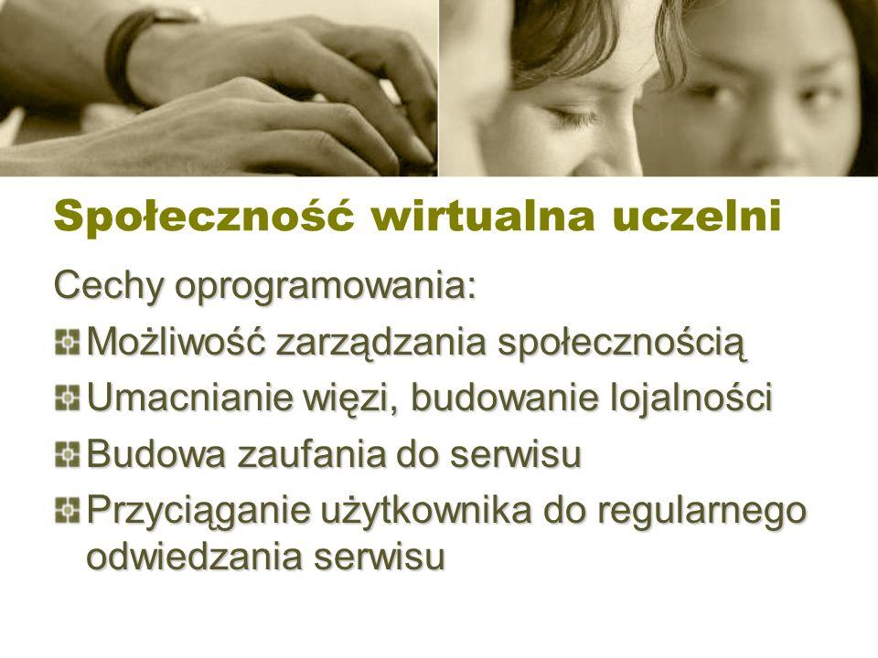 Społeczność wirtualna uczelni Cechy oprogramowania: Możliwość zarządzania społecznością Umacnianie więzi, budowanie lojalności Budowa zaufania do serw