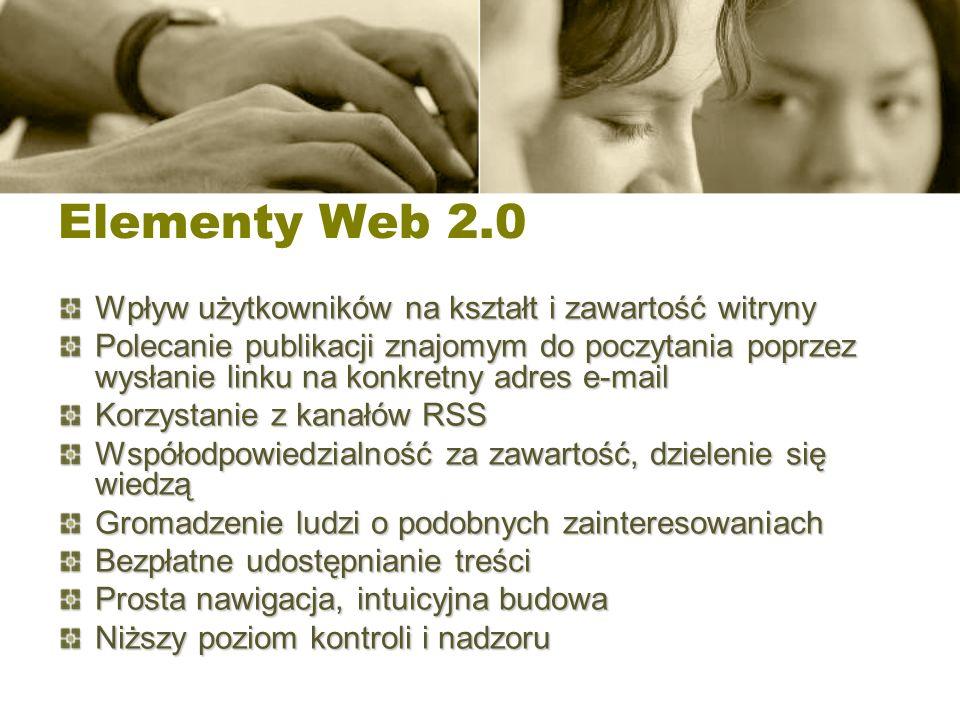 Elementy Web 2.0 Wpływ użytkowników na kształt i zawartość witryny Polecanie publikacji znajomym do poczytania poprzez wysłanie linku na konkretny adr