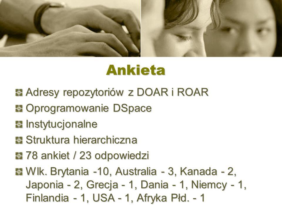 Ankieta Adresy repozytoriów z DOAR i ROAR Oprogramowanie DSpace Instytucjonalne Struktura hierarchiczna 78 ankiet / 23 odpowiedzi Wlk. Brytania -10, A