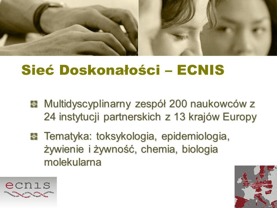 Sieć Doskonałości – ECNIS Multidyscyplinarny zespół 200 naukowców z 24 instytucji partnerskich z 13 krajów Europy Tematyka: toksykologia, epidemiologi