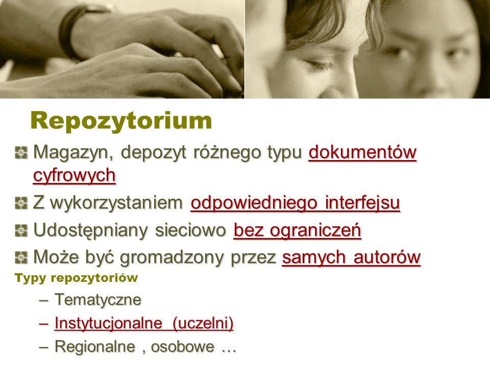 Repozytorium Magazyn, depozyt różnego typu dokumentów cyfrowych Z wykorzystaniem odpowiedniego interfejsu Udostępniany sieciowo bez ograniczeń Może by
